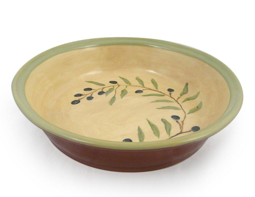 American Made Terra-cotta Pottery Deep Dish Pie Plate, 9.5-inch, Mediterranean Olive Branch Motif