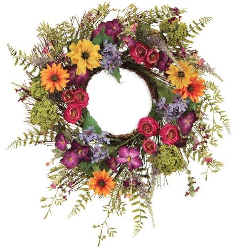 Melrose-International-Bright-Garden-Flower-Wreath-24-Inch