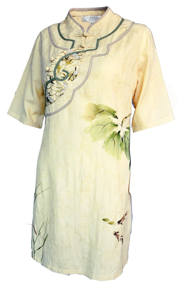 Amazing Grace Elephant Co Chic Linen Qipao top/Cheongsam Blouse Chinese Lass Collection (38, Yellow River Bride)