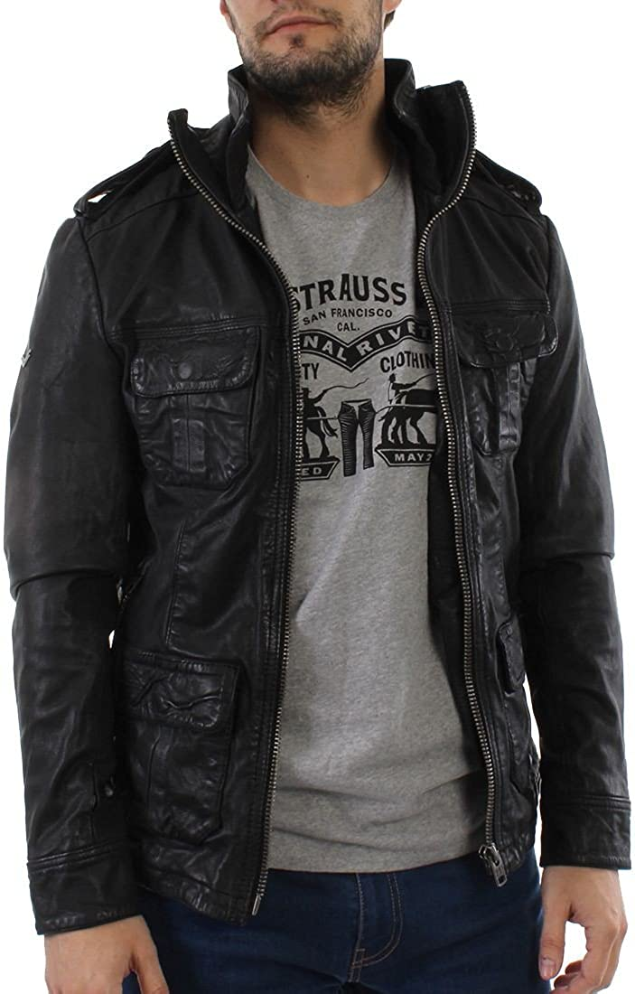 Superdry JacketBlackLarge Hero New Brad Men's Leather vyn0OPmN8w