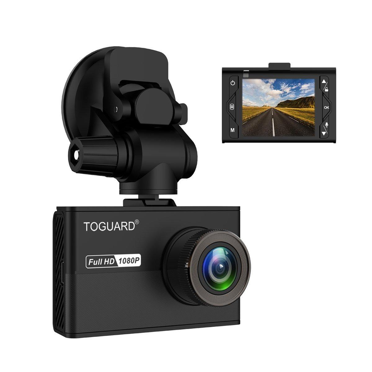 TOGUARD Dashcam Full HD 1080P, Auto Kamera 170° Weitwinkelobjektiv mit 1.5' LCD, Mini Auto Dashcam mit Super Kondensator, SONY Exmor Sensor, Loop-Aufnahmen, G-sensor, Bewegungserkennung Auto Kamera 170° Weitwinkelobjektiv mit 1.5 LCD CE65