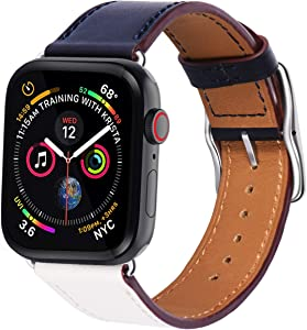 Surace Compatible with Apple Watch Band 38mm 40mm, Genuine Leather Watch Strap Stainless Steel Square Buckle Compatible for Apple Watch Series 4 Series 5 40mm,Indigo White Orange Band+Silver Buckle
