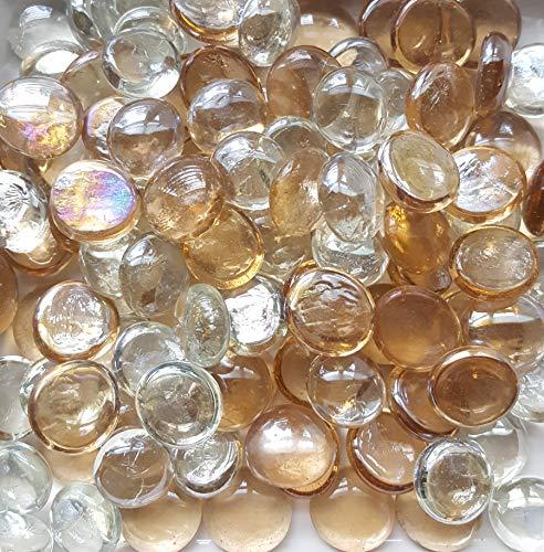 HM 3 lbs Bulk Glass Pebbles Flat Marbles Gem Stones Pebbles Vase Fillers Mosaic Supplies (Champagne Mix)