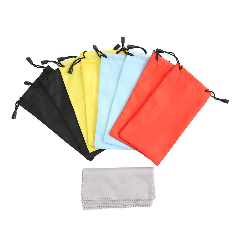 Shintop 8 Pack Sunglasses Pouches, Drawstring Soft Bag with 8 Pack Free Microfibre Cleaning Cloth for Glasses, Gadgets (Random 4 Colours) HuaRuiXing