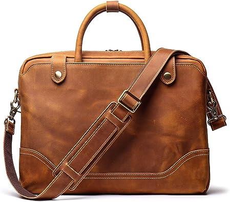 Mens Vintage Leather Travel Shoulder Business Briefcase Bag Messenger Tote Bag