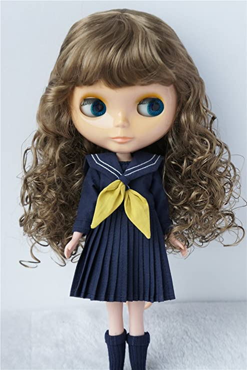 "9-10/"" 23-25CM Long Wave Air Bangs Blythe Hair Synthetic Mohair Wig for Blythe"