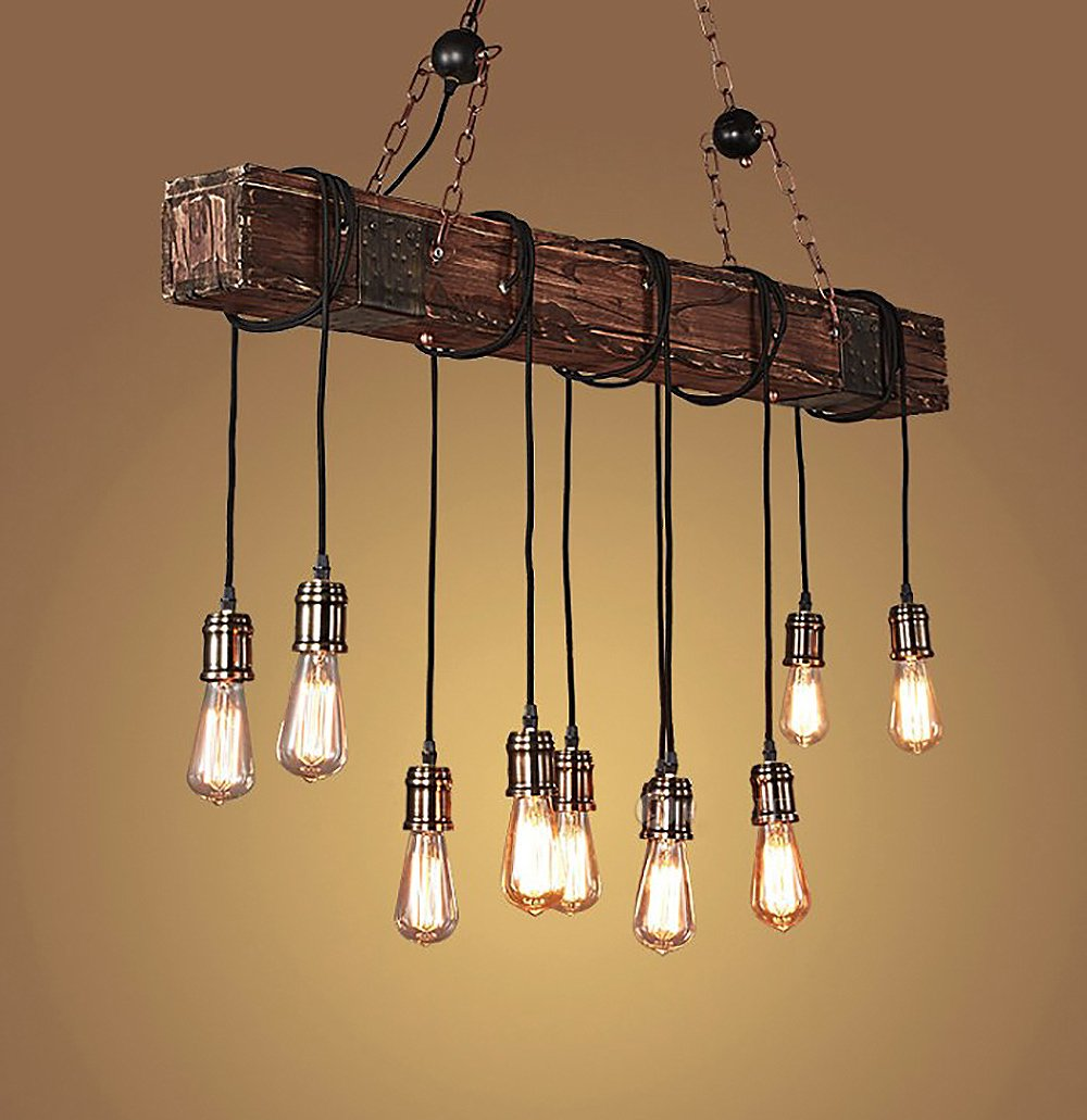 HAIXIANG Wrapped Wood Beam Antique Decoration Chandelier Pendant Lighting - Vintage Kitchen, Bar, Industrial, Island Billiard and Edison Bulb Decor.Farmhouse Style Light Fixture