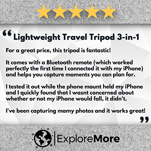 Lightweight Travel Tripod 48 Inch | Bluetooth Remote, Phone Mount, GoPro Mount, Carrying Bag | Premium Aluminum | Digital Camera, Android, DSLR, iPhone X, 8, 7, 6 Plus, Samsung Galaxy | Photo, Video by Explore More Creative Co. (Image #7)