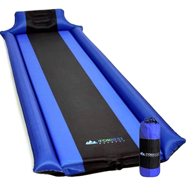 Bessport Self-Inflating Sleeping Pad 2 Thick Camping Pad Inflatable Foam Sleeping Mat for Camping and Traveling with Patch kit and 2 Carry Bags Hiking
