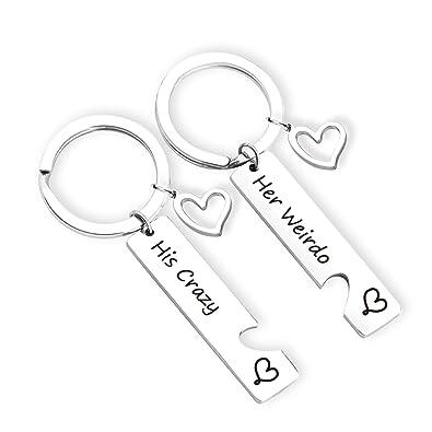 Amazon.com: ZNTINA - Juego de llavero con diseño de pareja ...