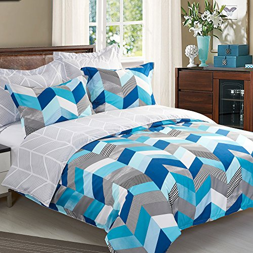 NTBAY 5 Pieces Reversible Fashionable and Simple Geometric Pattern Printed Microfiber Duvet Cover Set with Hidden Zipper,Soft & (Pattern Zipper)