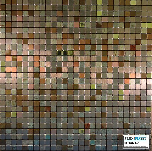 FLEXIPIXTILE, Modern Aluminum Mosaic Tile, Peel & Stick, Backsplash, Accent Wall, 1 sq.ft,THE PALACE M10S528-The Palace