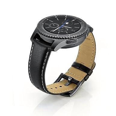 Sundaree Correa Galaxy Watch 46mm/Gear S3 Frontier/Classic,22mm Negro Cuero Reemplazo Banda Pulseras de Repuesto Correas para Samsung Galaxy Watch ...
