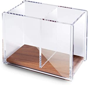 """Zodaca Acrylic Pencil Pen Holder Large, [2 Compartments with Wood Base] Acrylic Pen Pencil Holder Large Capacity for Desk Desktop Stationery Organizer Desk Accessories, Clear/Brown (4.9"""" x 4"""" x 2.9"""")"""