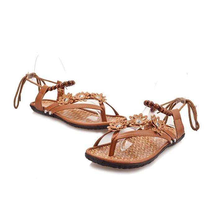 Ouneed® Damen Sommer flachen Sandalen Slipper Böhmen Schuhe Schuhe Flip Flops Erwachsene Damen Zehentrenner (Größe 40 Fuß Länge 24.5-25.0cm / 9,6