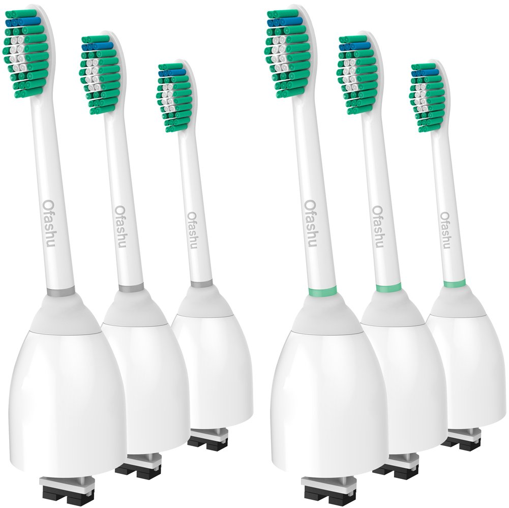 Sonicare E-Series Replacemet Brush Heads HX7001, 6 Pack by Ofashu fit Philips Sonicare E Series, Essence, Elite, Xtreme Electric Toothbrush