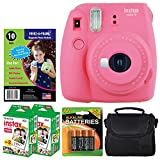 Fujifilm instax mini 9 Instant Film Camera (Flamingo Pink) + Freez-A-Frame Magnetic Photo Pockets + Fujifilm Instax Film (40 Shots) + Small Case + 4 AA Batteries – Complete Accessory Bundle