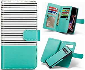 iPhone XR Detachable Wallet Case,Hynice Flip Straps Pattern Leather Case with 9 Card Slots Holder Magnetic Strap Removable Cover Shell for iPhone XR 6.1 (Green White, iPhone XR)