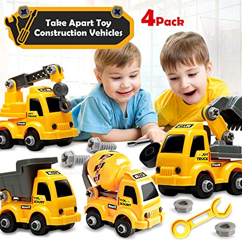 Take Apart Toy Construction Vehicles, STEM Building Set, Excavator, Crane Truck, Mixer Truck, Dumper, Construction Engineering Building Play Set Gifts for Boys Girls Toddlers 3 4 5 Year olds (4 Pack)