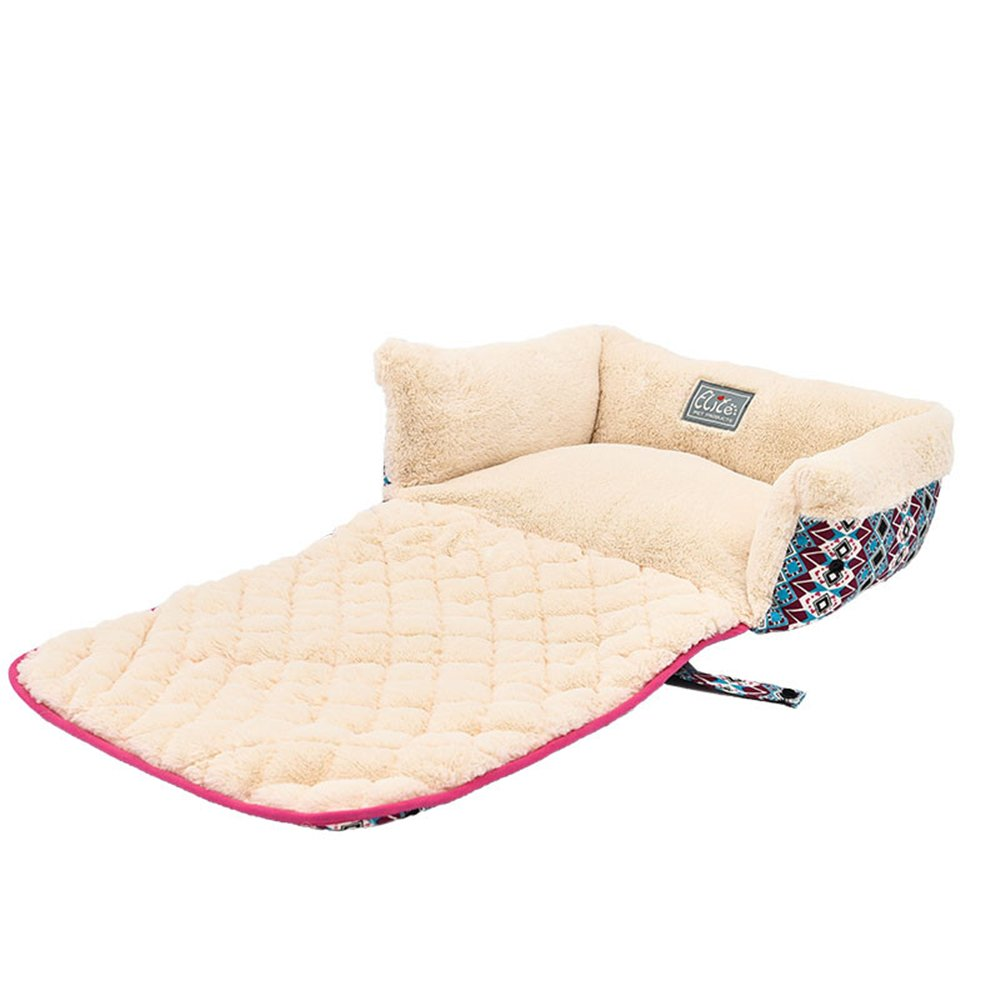 Pet Bed Soft Sleeping Mat Couch Sofa Raised Bed for Dogs and Cats Plush Foldable and Washable Cream Medium