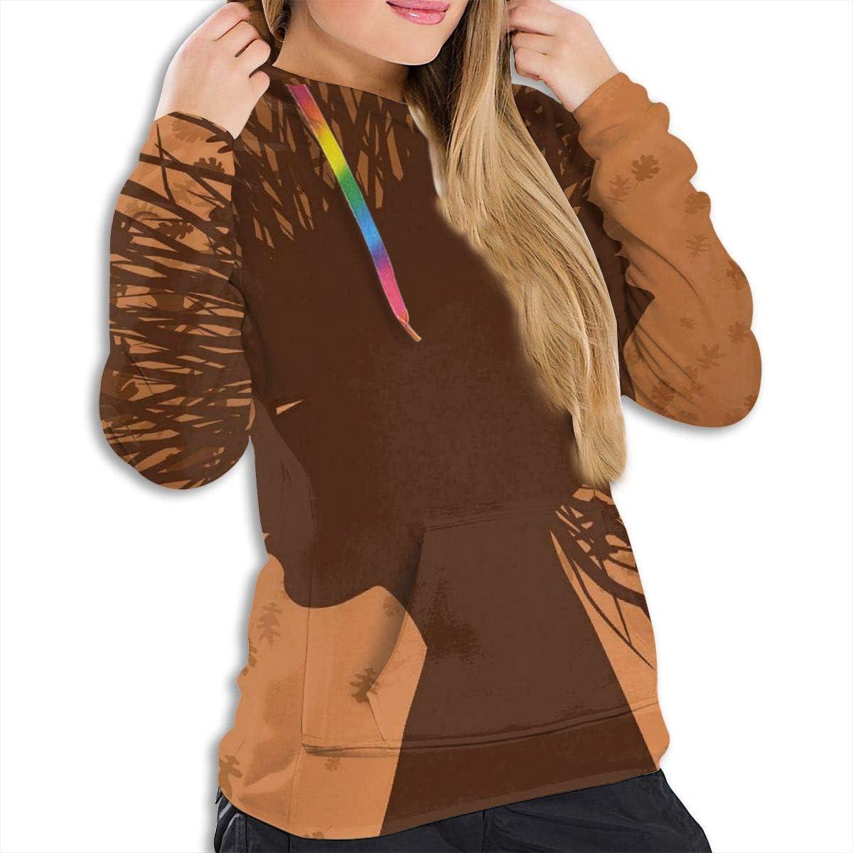 Womens Hoodie,Autumnal Elements Bushes Leaves Punk Hair Woman Head Pattern,Lady Sweatshirt