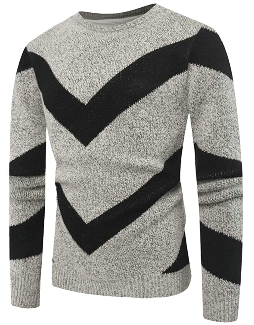 Generic Mens Round Neck Winter Knitted Color Stitching Casual Pullover Sweaters
