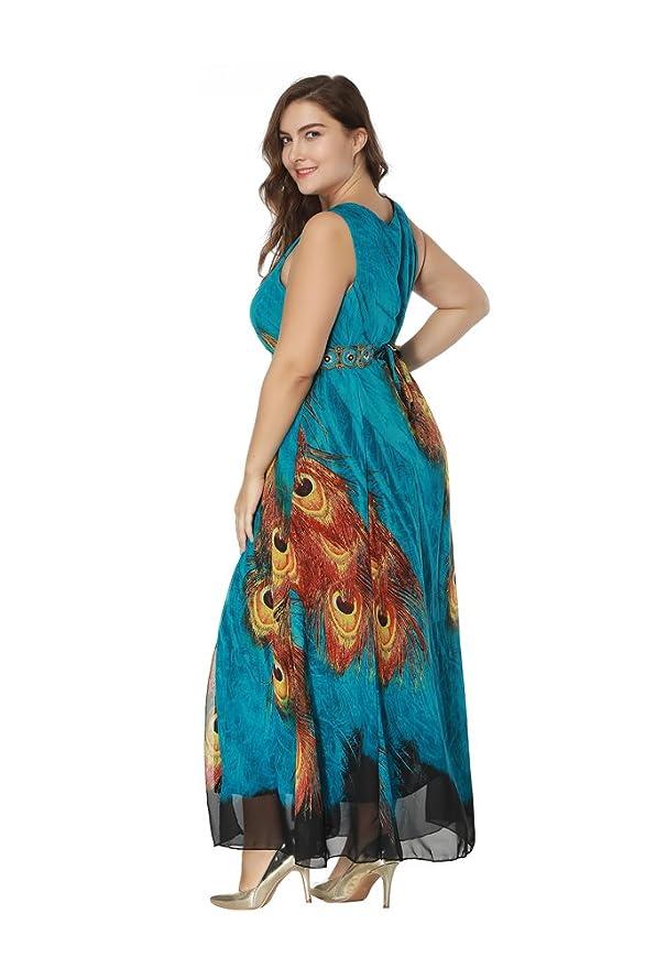 Vestido Mujer Elegante Tallas Grandes Vestidos de Cóctel Sin Mangas Larga Vestido de Fiesta: Amazon.es: Ropa y accesorios
