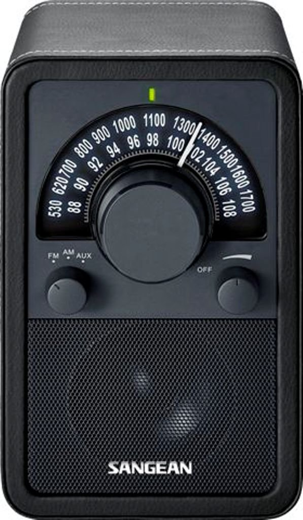 Sangean WR-15BK AM/FM Table Top Wooden Radio, Black Leatherette