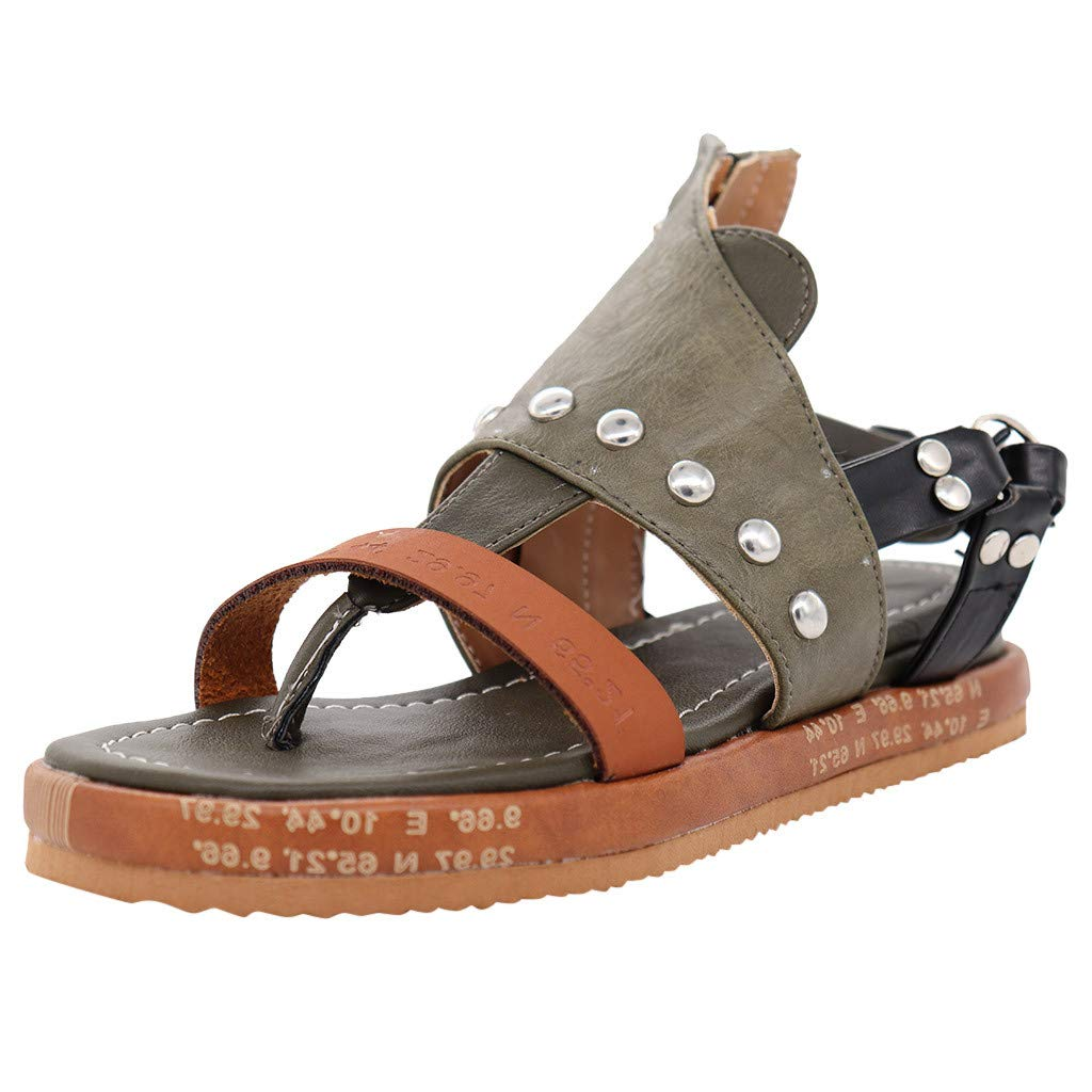 Women's Comfy Platform Sandal Shoes Open Toe Ankle Strap Flat Shoes Casual Gladiator Flat Sandals Fisherman Thong Sandals (Green, US:4.5) by Cealu