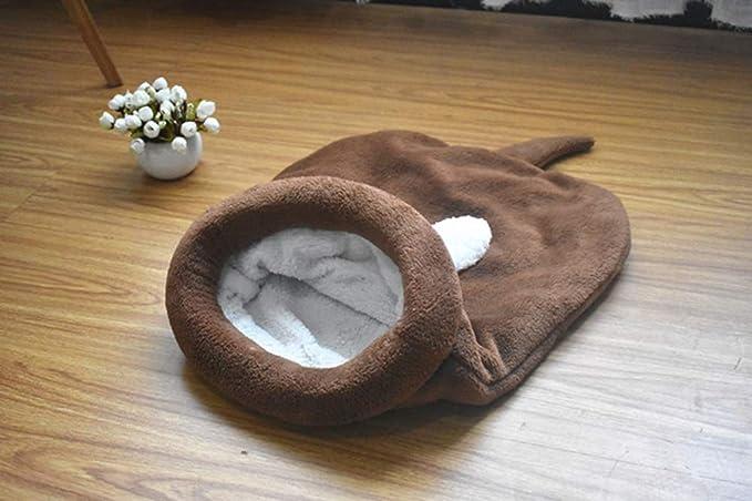 Saco de Dormir para Gatos Bolsa para Mascotas Suave Cálido Lavable Cama de Gato Snuggle Saco de Manta Manta para Gatito Cachorro Pequeños Animales Marrón L: ...