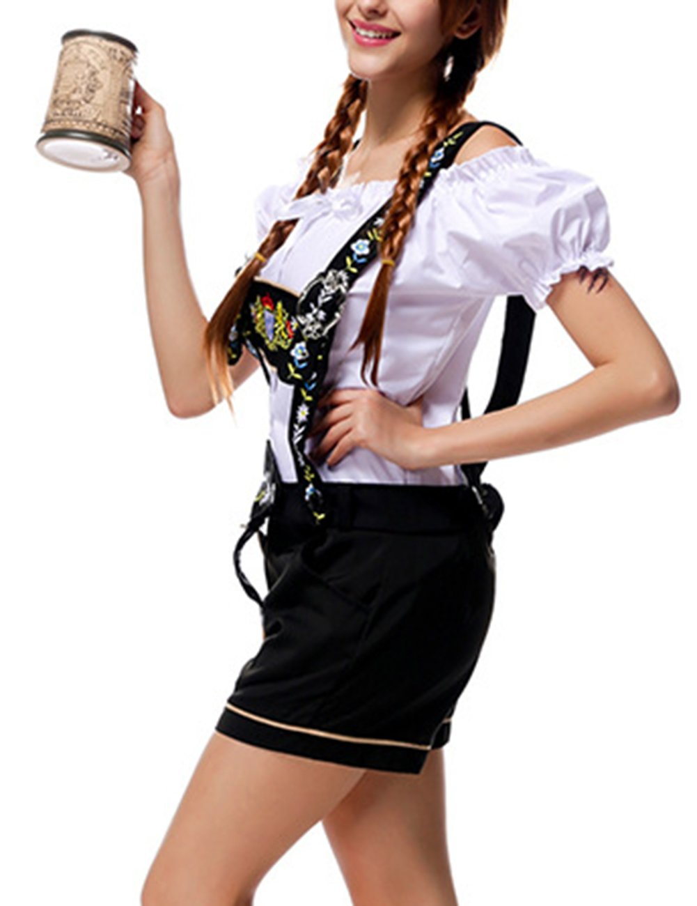 Yiwa Oktoberfest Costumes Women Classic Retro Costumes Sexy Charming Off Shoulder Beer Festival Tops + Suspenders Pants by Yiwa (Image #5)