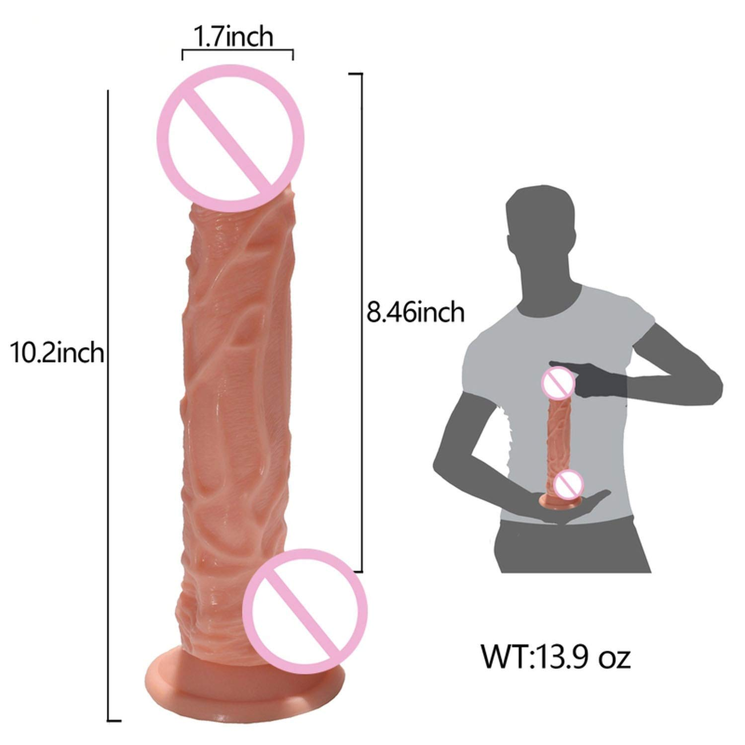 USEXMTY S-Tshirt 10 inches Huge Real P-énis Big Soft D-ick Suction Cup Dong Privacy Funny Toys for Women Privacy Product,Beige Effectively by USEXMTY S-Tshirt (Image #3)