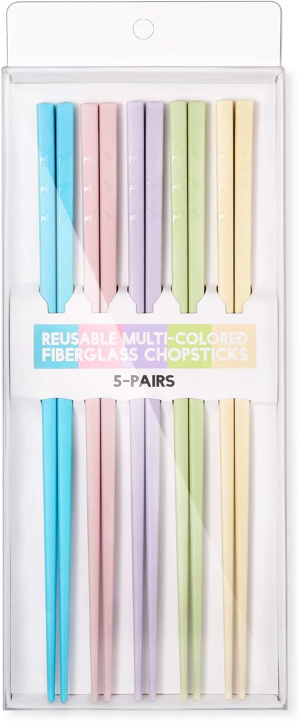 Hiware Reusable Fiberglass Chopsticks Dishwasher Safe, Lightweight, Multicolor - 5 Pairs Gift Set