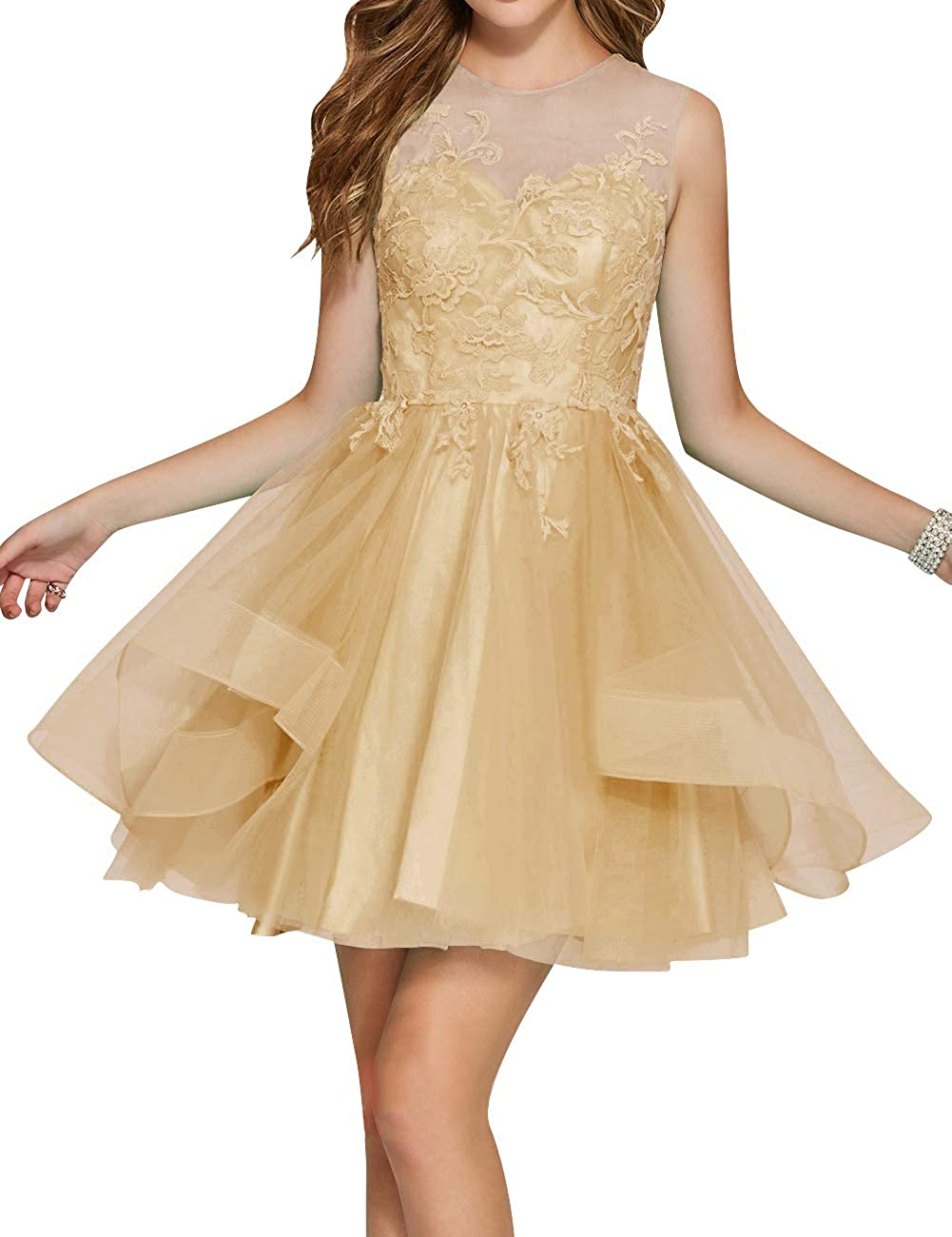Champagne Uther Junior Tulle Prom Homecoming Cocktail Dresses Short Scoop Neck Bridesmaid Dress