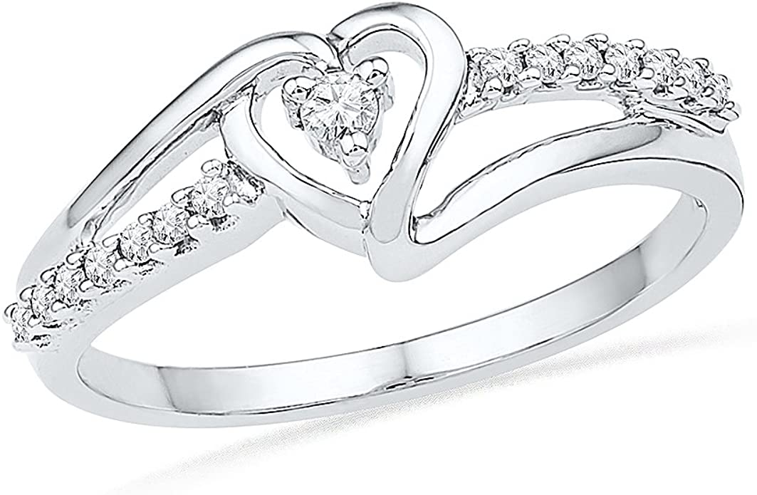1//20 Cttw D-GOLD Yellow Plated Sterling Silver Round Diamond Mom Heart Ring