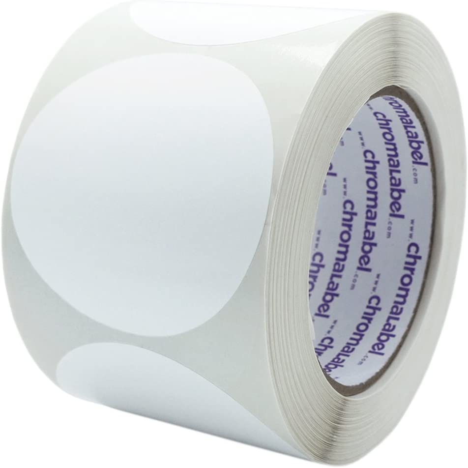 ChromaLabel 3 Inch Round Permanent Color-Code Dot Stickers, 500 per Roll, White