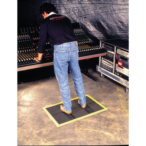 Wearwell Natural Rubber 454 OrthoSand Medium Duty Anti-Fatigue Mat, Safety Beveled Integral Molded Border Edges, for Dry Areas, 2' Width x 3' Length x 1/2'' Thickness, Black