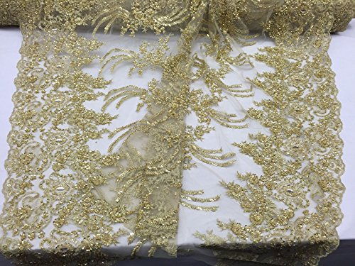 Metallic Gold Divine Flower Design Embroider And Heavy Beading On A Mesh-by yard ()