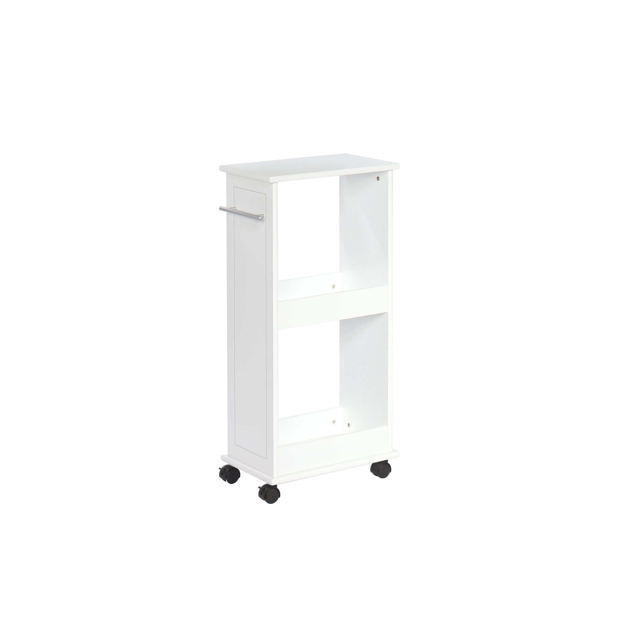 RiverRidge Rolling Side Cabinet with Shelves, White