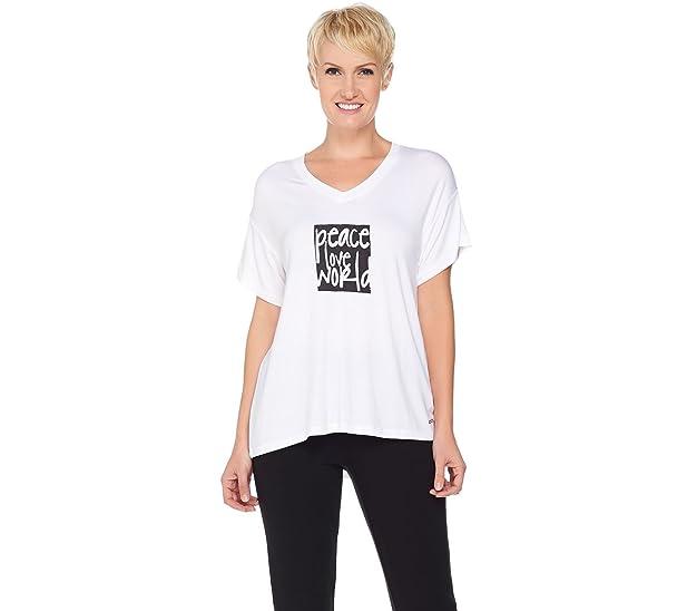 Peace Love World Short Slv Knit T Shirt Logo Print Design White S New A
