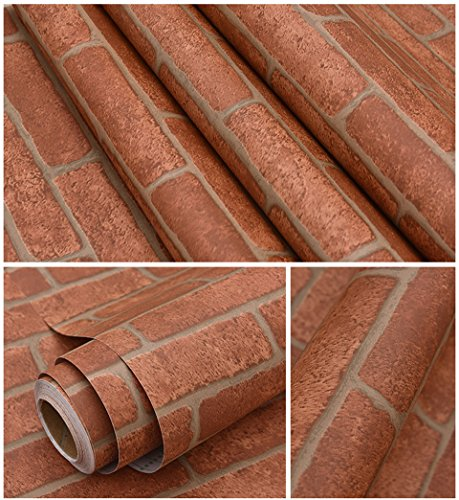 Peel & Stick Self-Adhesive Waterproof Vinyl Brick Pattern Wallpaper Wrap Roll (16