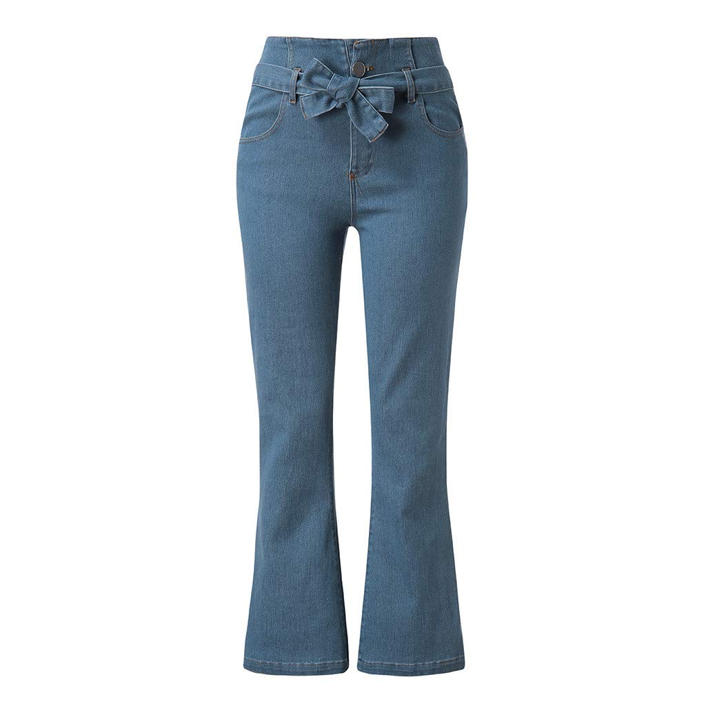 Danhjin Womens Bow Tie Loose Waist Pocket Solid Loose Pants Broad Leg Pants Flared Pants Blue by Danhjin