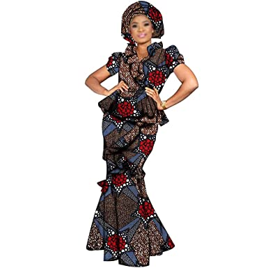 42060e78a3 African Dresses 3 Piece for Women Suits Crop top+Skirt+Headwrap 20×70 inch  at Amazon Women's Clothing store: