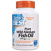 Doctor's Best Pure Wild Alaskan Fish Oil with AlaskOmega, Heart, Brain, Mental Wellbeing, Eyes, Non-GMO, Gluten Free, 180 Marine Softgels