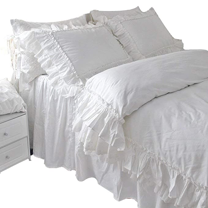 Queen's House Vintage Victorian Lace Duvet Cover White Bedding Queen Set