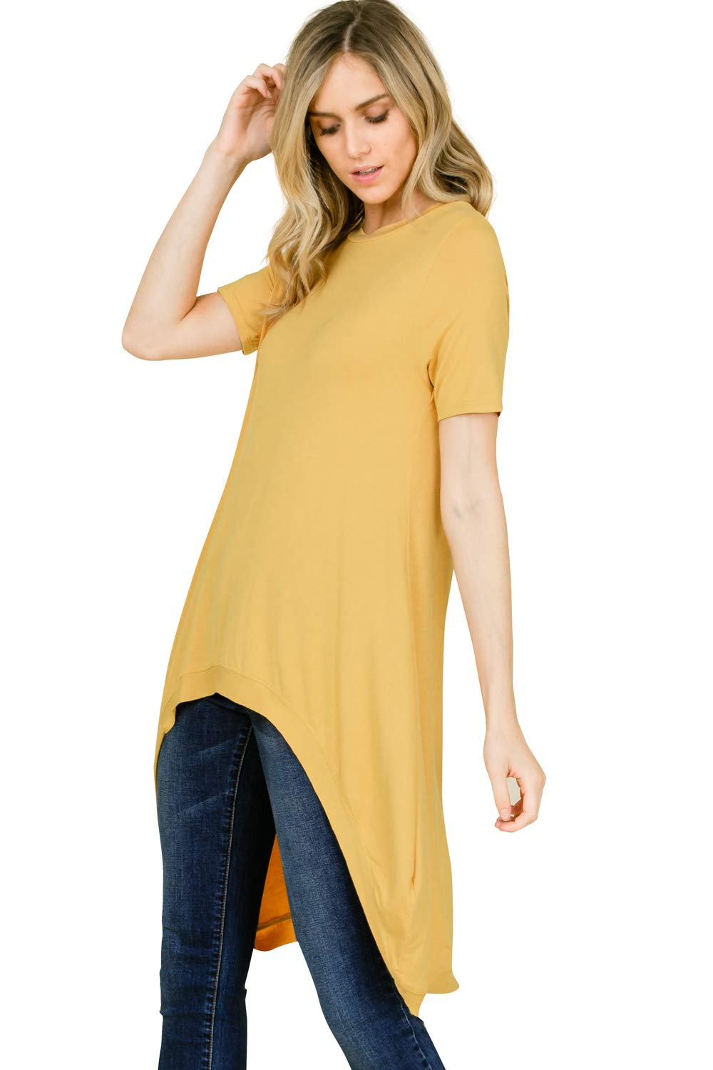 Annabelle Women's Plus Size Hi Low Hem Round Neck Short Sleeved Solid Loose and Relaxed Top Mustard XXX-Large T1178