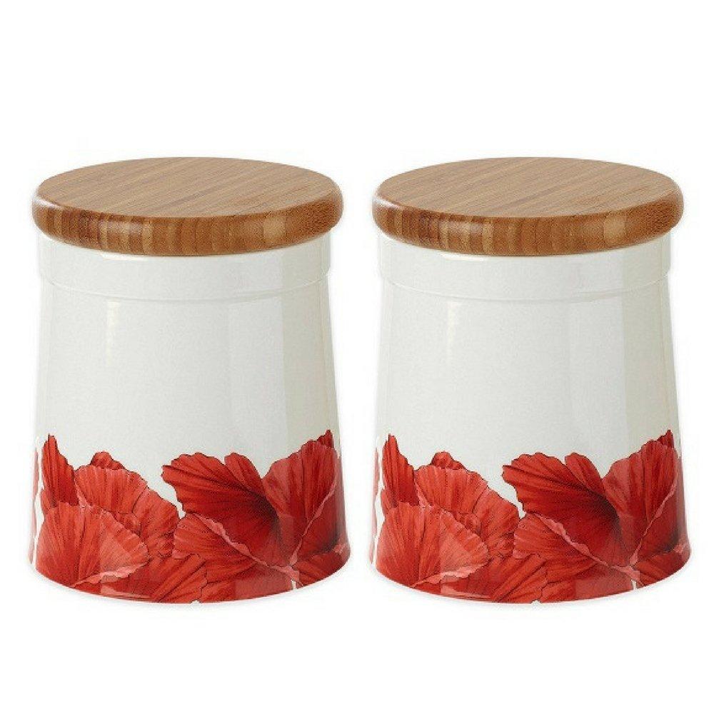 Portmeirion Botanic Blooms Poppy Large Storage Jar, (2-pack)
