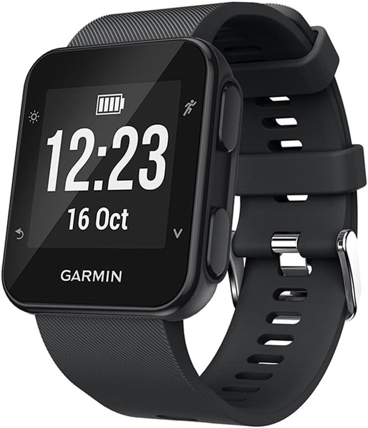 KOMI Correa de reloj compatible con Garmin Forerunner 35/30 Smart Watch, correa de repuesto de silicona, color Negro