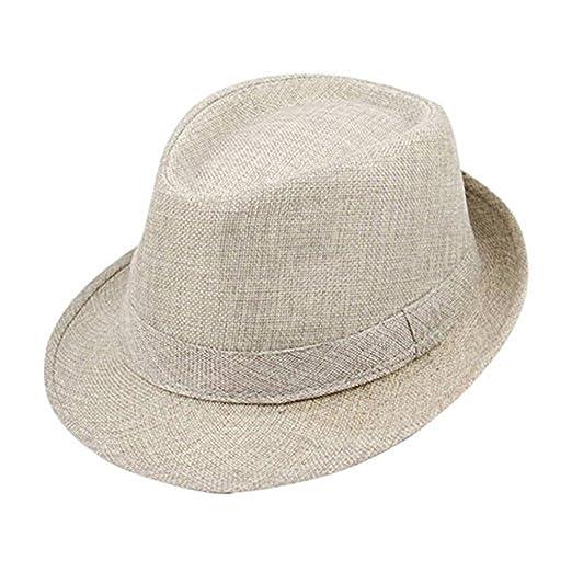 Jytrading Mens Linen Fedora Dress Cap Summer Sun Visor UV Protection Flat  Cover Travel Beach Hat 7cb2838b4a3