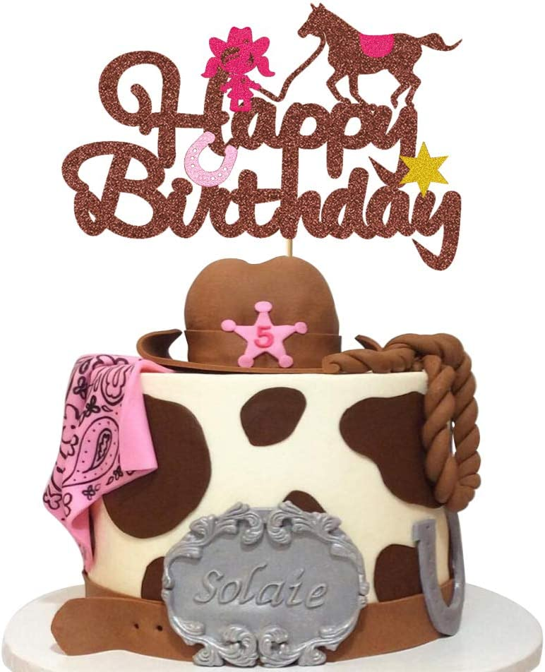Glorymoment Cowgirl Cake Topper Birthday, Glitter Horse Cake Toppers for Girl, Happy Birthday Cake Topper for Western Cowgirl Theme Party Decoration or Baby Shower Supplies (6.74'' x 4.51'')